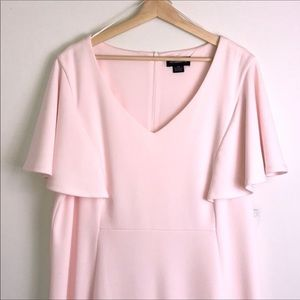 Liz Claiborne Dresses - Liz Claiborne Blush Pink Flutter Sleeve Midi Dress